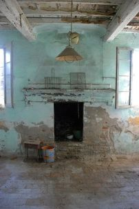 turquoise old room