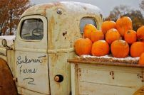 pickup with pumpkins